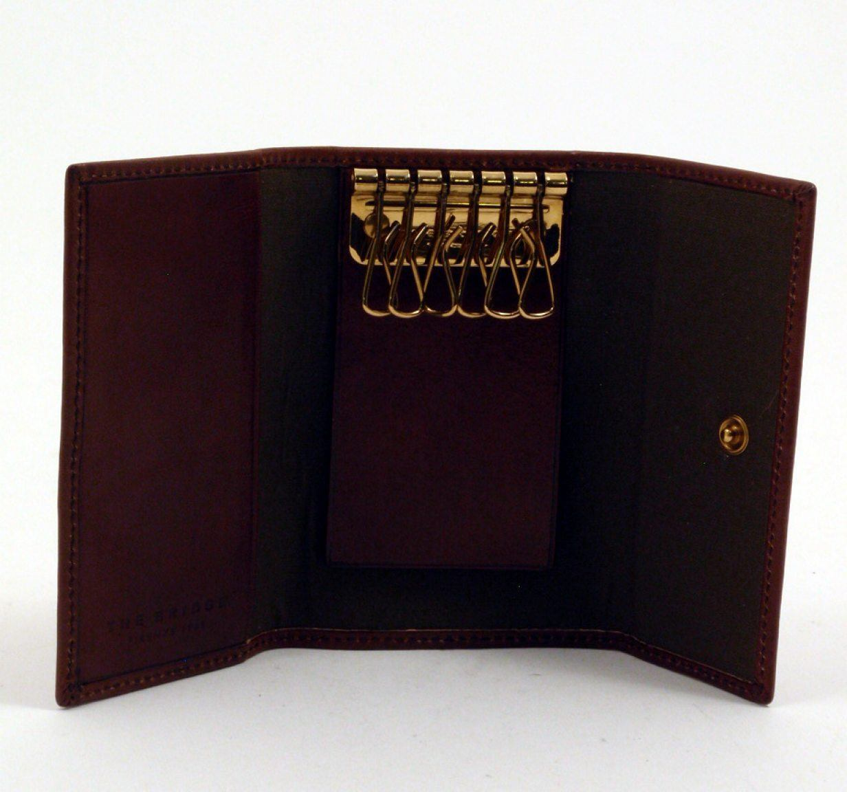 Schlüsseletui mit Karabiner The Bridge Leder marrone
