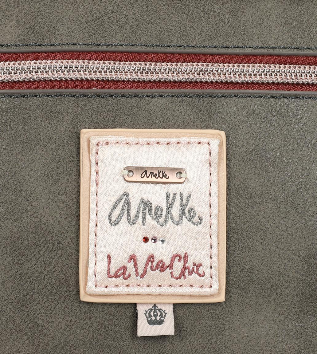 Schultertasche Anekke Couture Paris Samtstoff Beige Glitzer