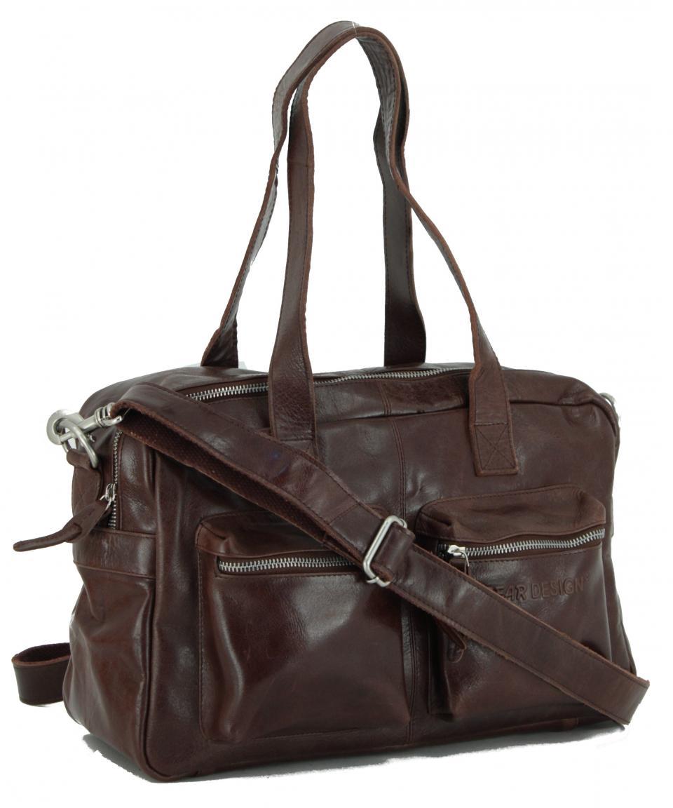 Schultertasche Bear Bags dunkelbraun Glattleder vintage
