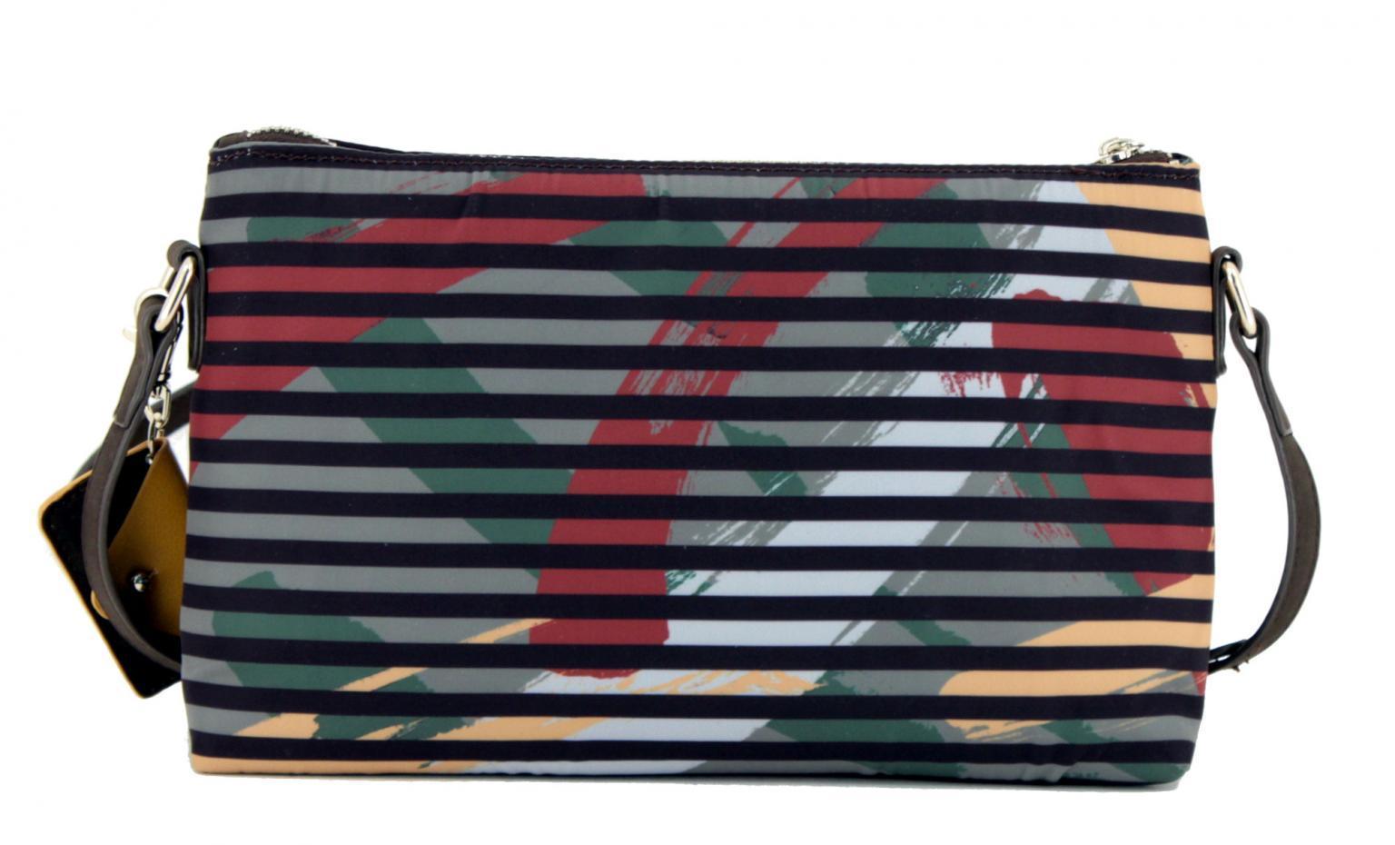 Schultertasche Desigual Sonia Durban Streifen bunt braun