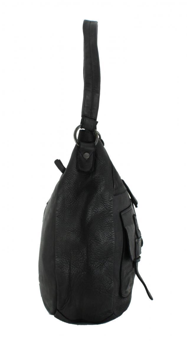 Schultertasche Ellida Harbour2nd Vintage Leder ASH schwarz