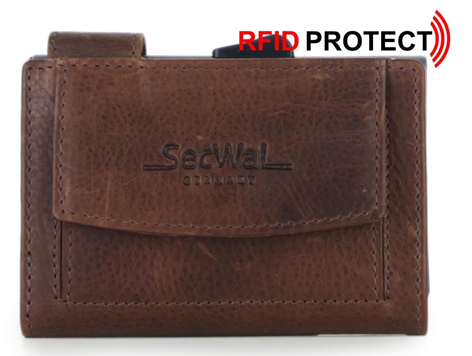 SecWal Bull Kreditkartenbörse RFID Schutz braun Leder