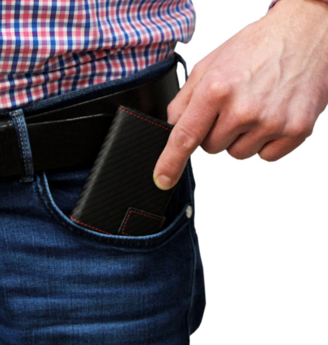 SecWal Cardprotector Carbon schwarz mit roter Naht RFID Schutz