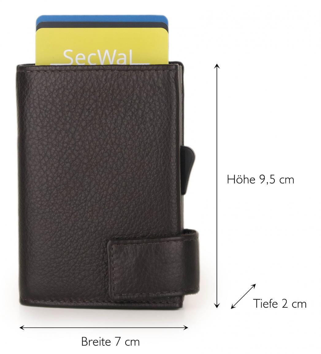 SecWal Gedbörse Metallhülle für Karten RFID Schutz Dunkelbraun