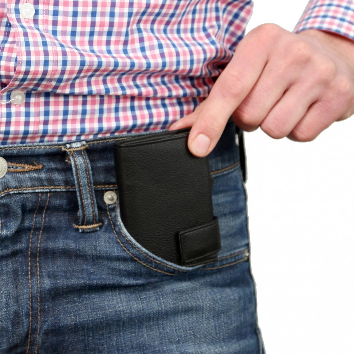 SecWal Geldbörse Ausleseschutz RFID Metallhülle schwarz