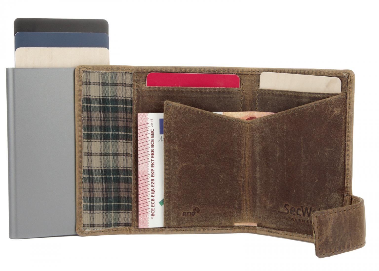 SecWal Kartenbörse Geldtasche RFID Ausleseschutz braun