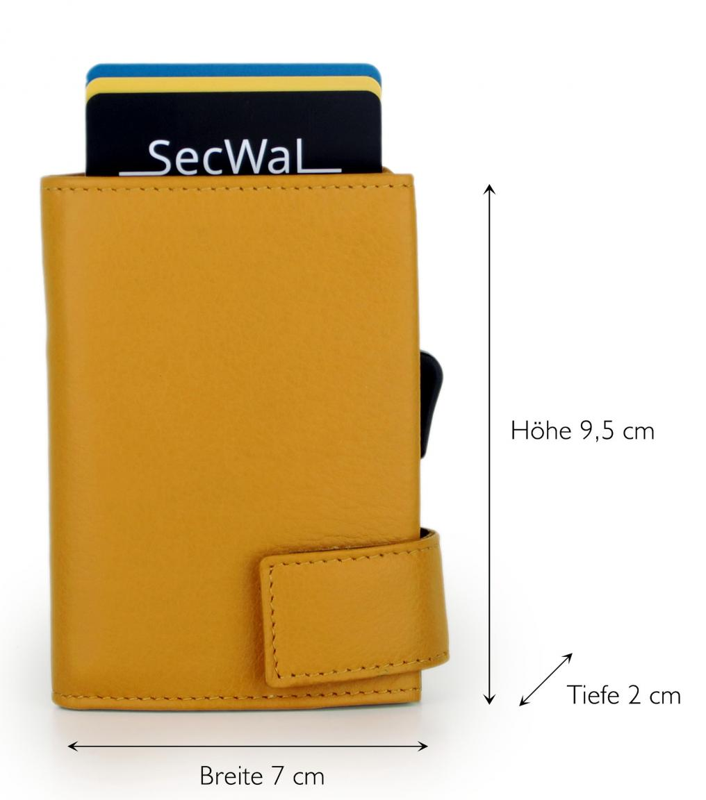 SecWal Kartenetui mit Münzfach RFID Schutz Gelb