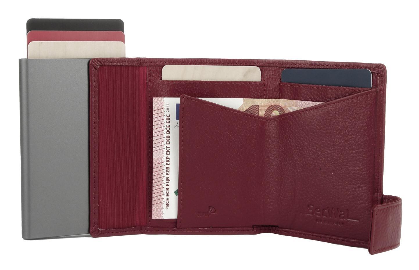 SecWal Kartenhülle Geldbörse Aluminium cherry rot