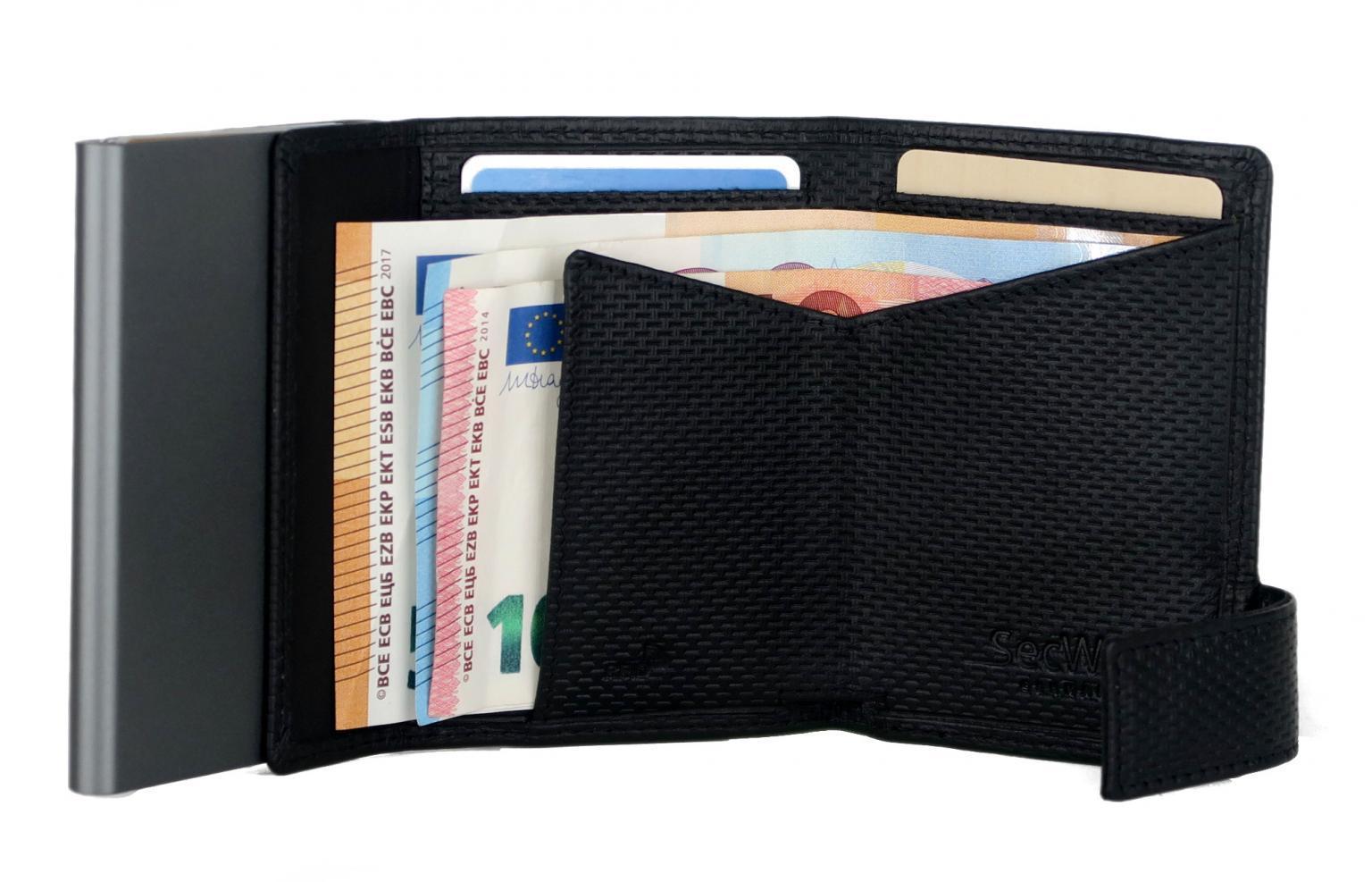 SecWal Kartenhülle Osaka schwarz Münzfach RFID-Shutz