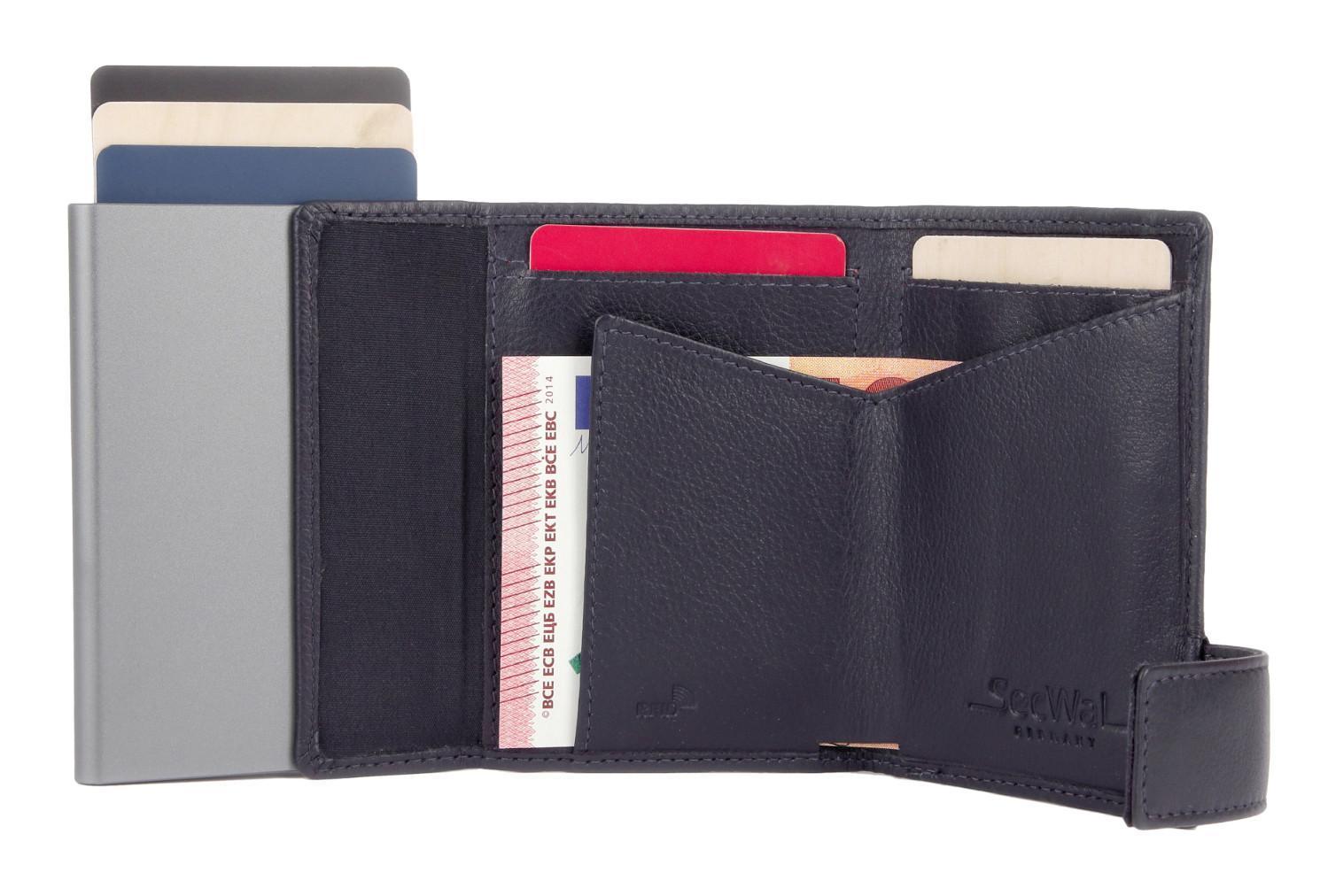 SecWal Lederbörse Cardprotector RFID Metallhülle navy blau