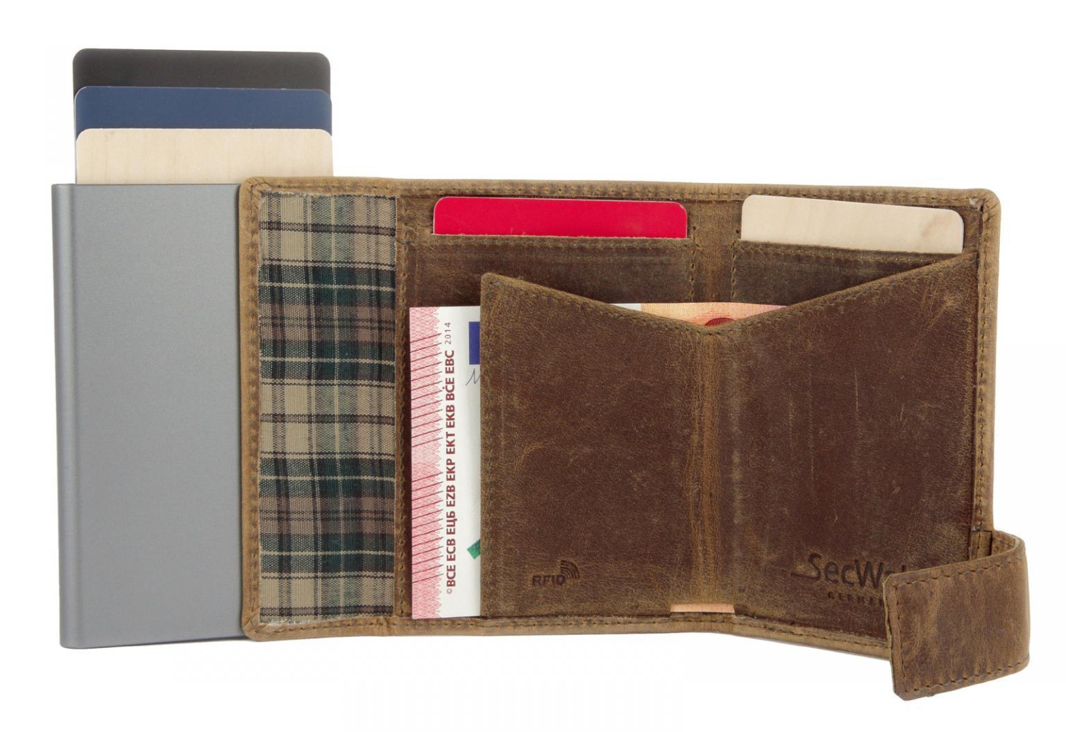 SecWal Lederbörse Kartenetui Vintage braun