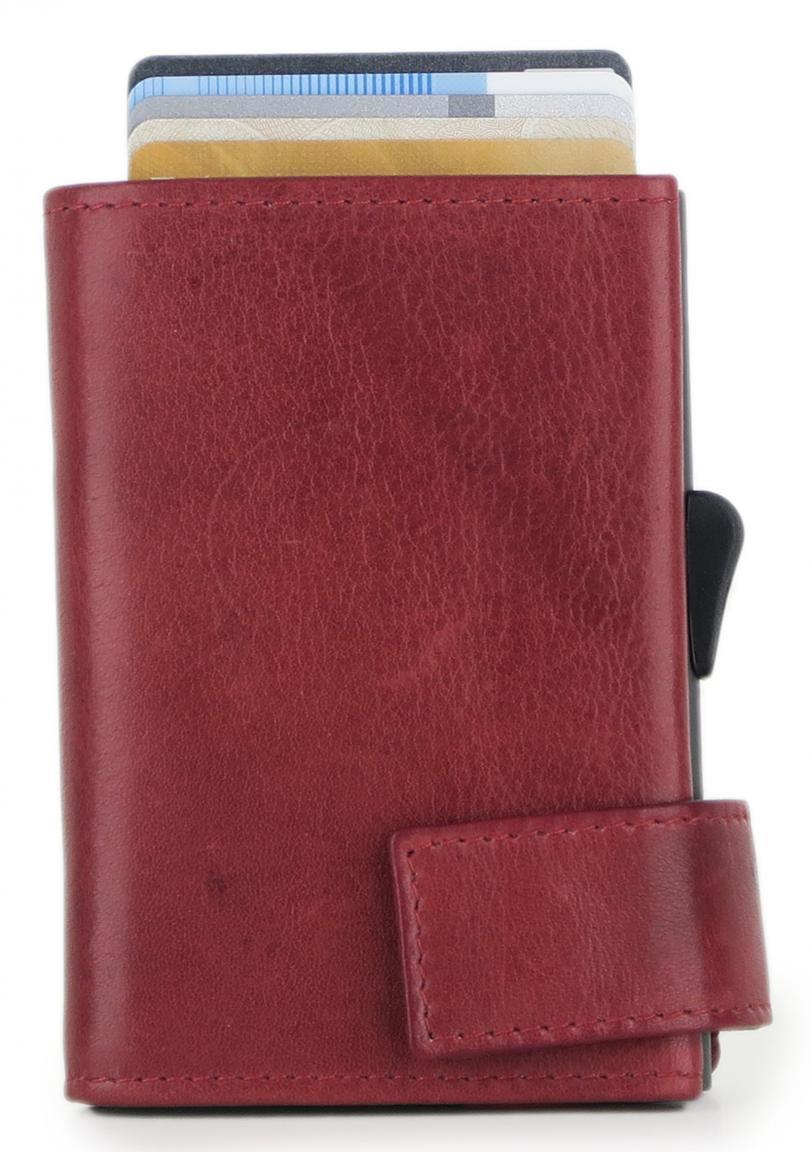 SecWal Vintage Kartenbörse mit Münzfach rot RFID-Protect