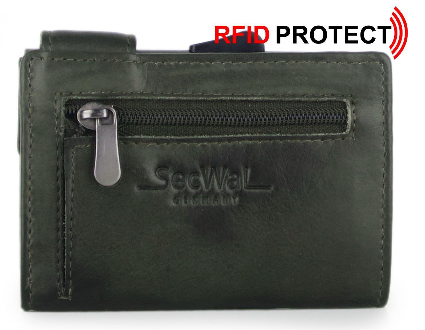 SecWal Vintage grün RFID-Schutzhülle Münzfach Reißverschluss