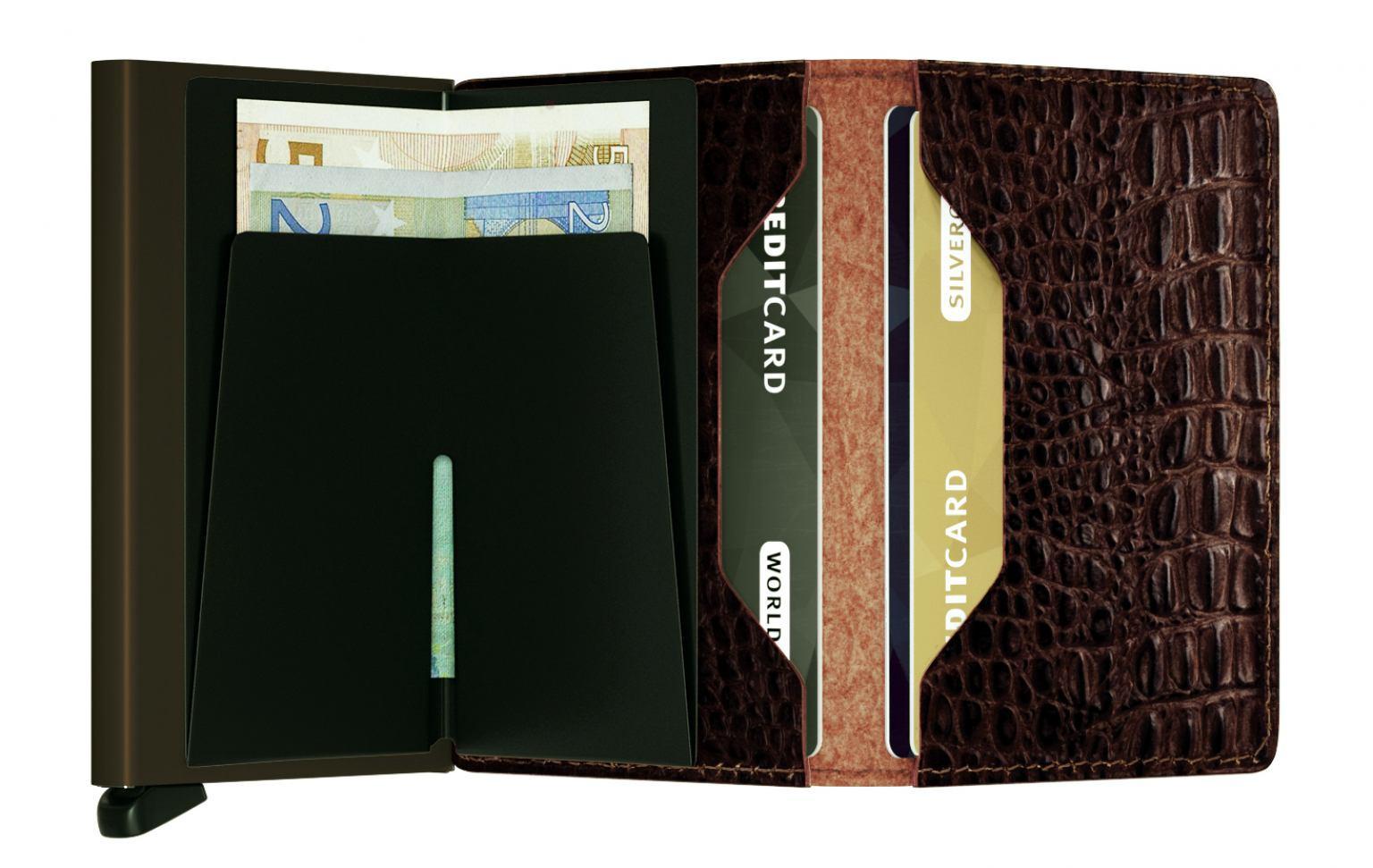 Secrid Kartenetui RFID Schutz Slimwallet Krokoprägung Nile Brown