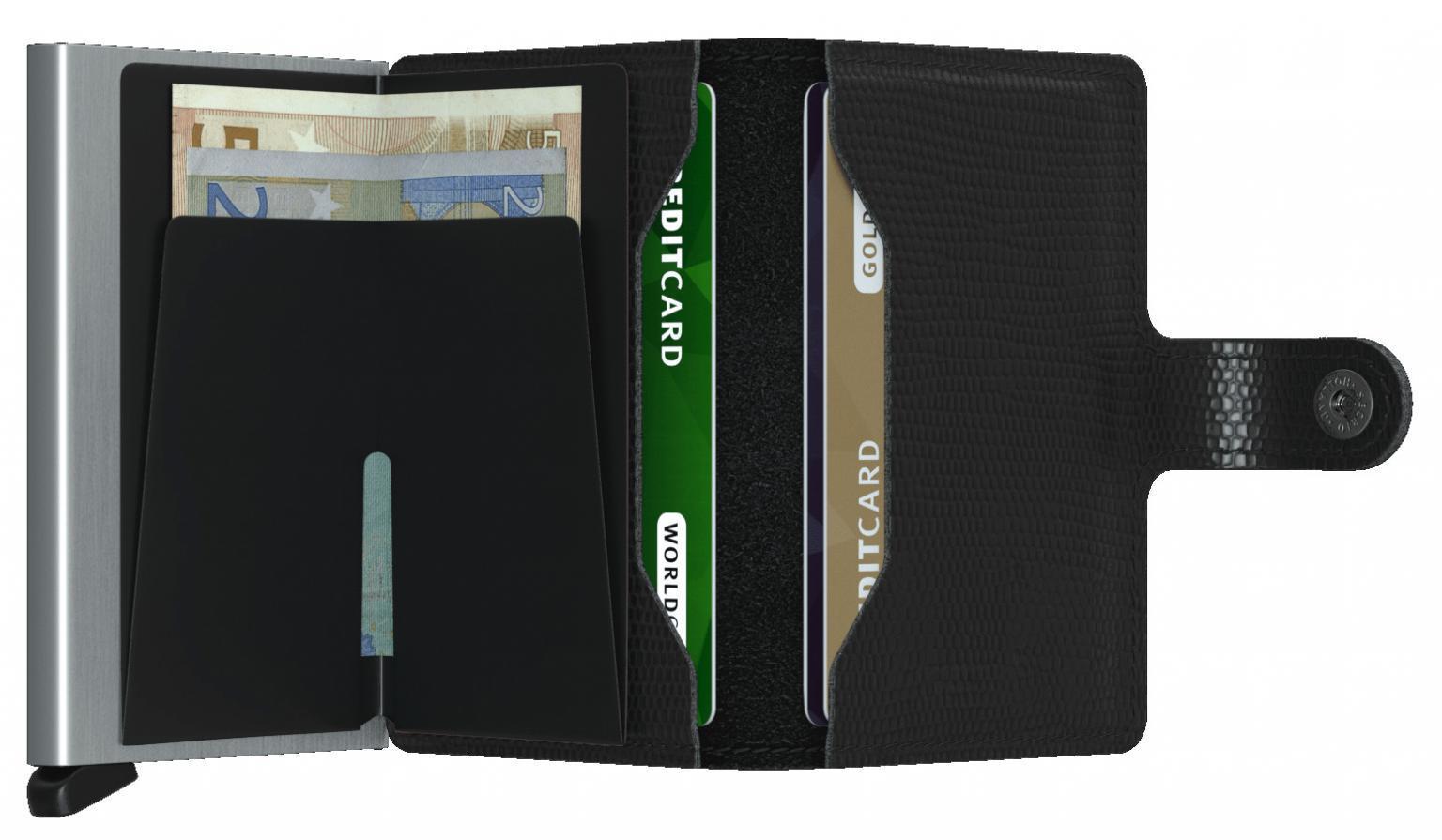 Secrid Miniwallet Kartenetui Reptilprägung Rango Black schwarz