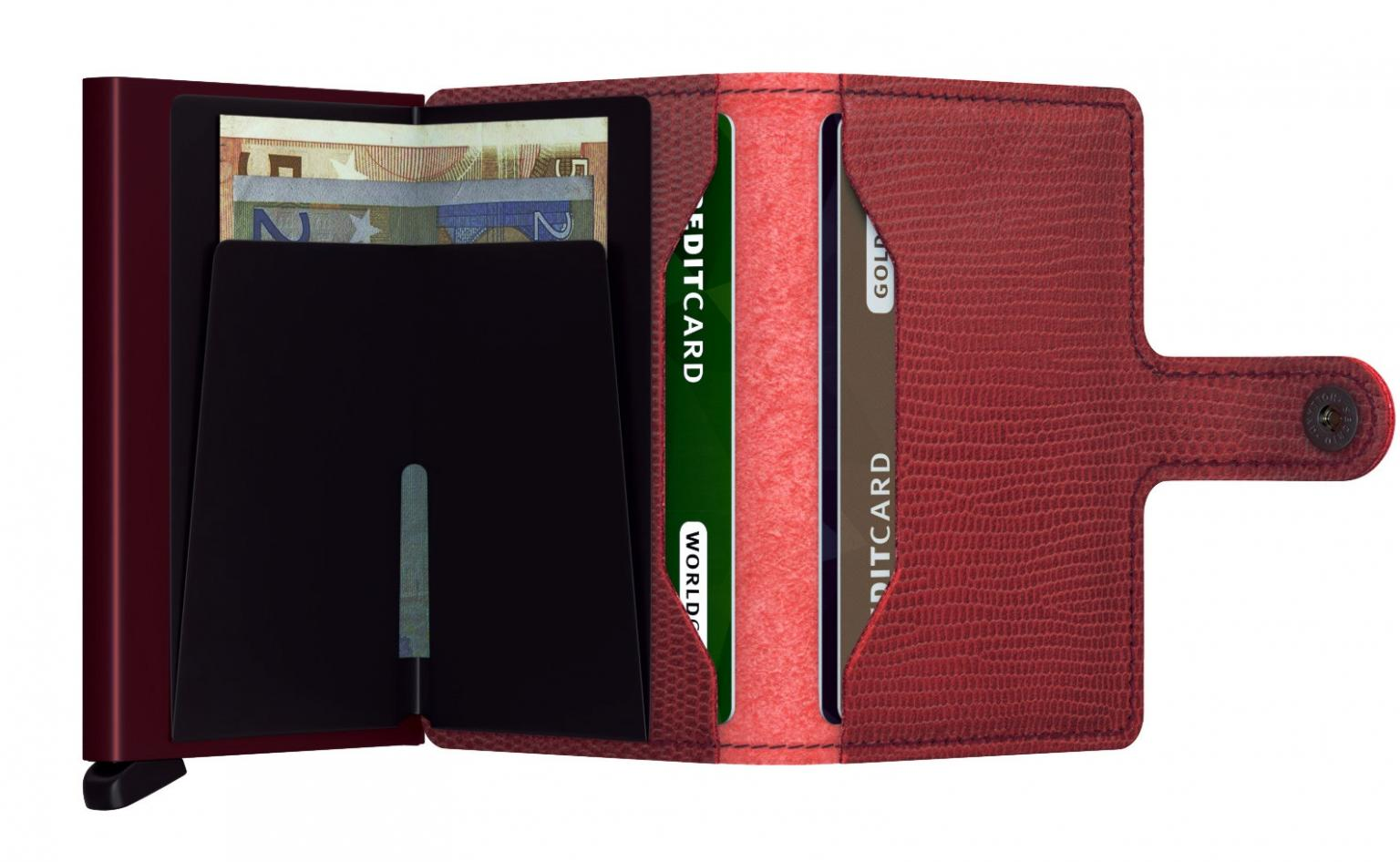 Secrid Miniwallet Kartenetui Reptilprägung Rango Red-Bordeaux