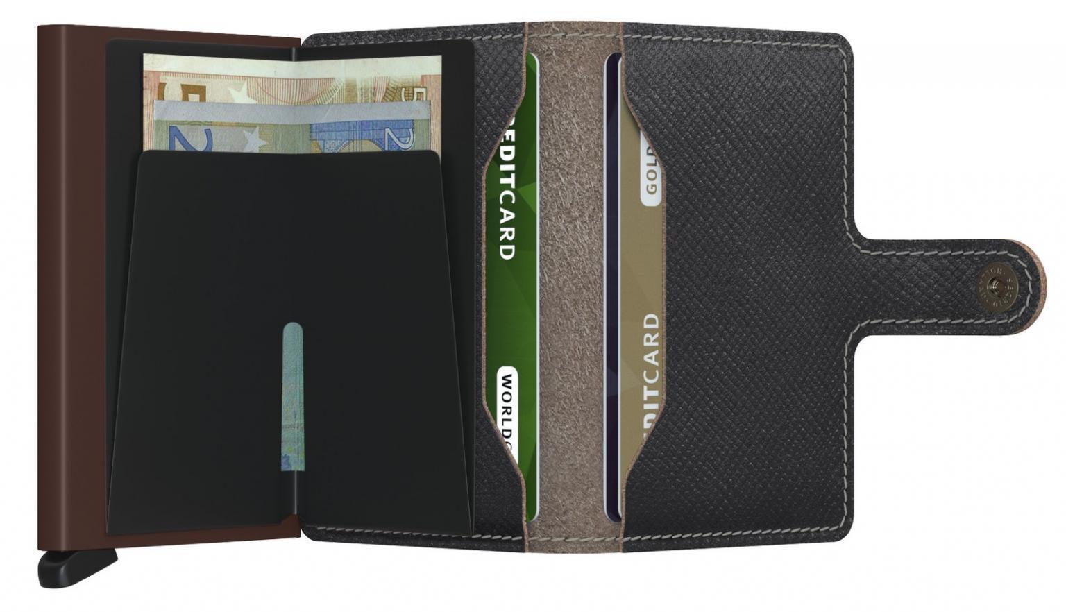 Secrid Miniwallet Saffiano Brown dunkelbraun RFID-Schutz Kartenetui
