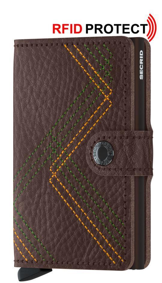 Secrid Miniwallet Stitch Linea Espresso bestickt RFID-Schutz