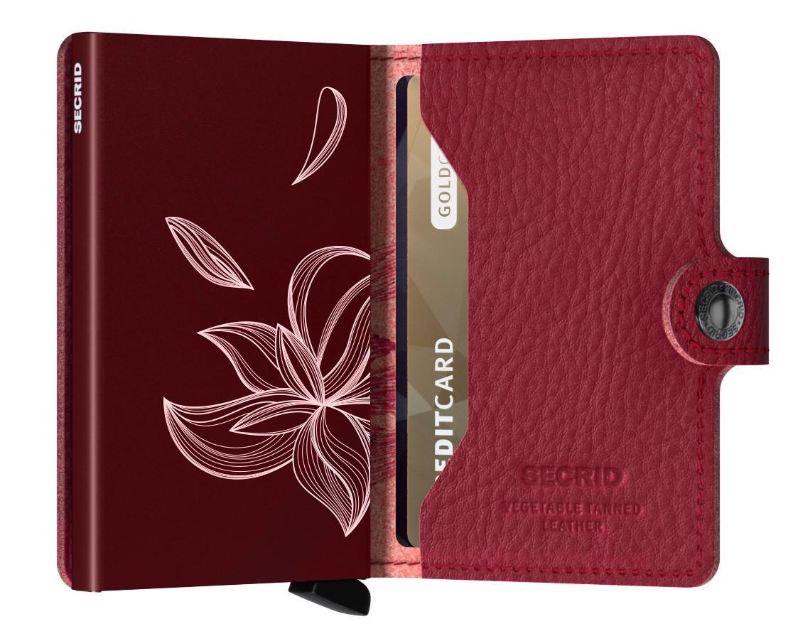 Secrid Miniwallet Stitch Magnolia Rosso bestickt Gravur Blume