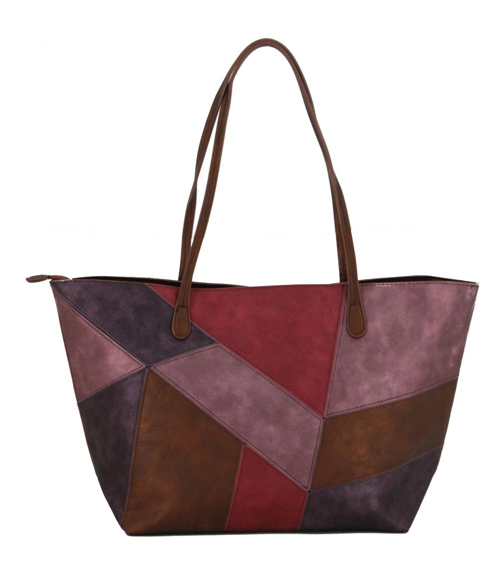 Shopper Desigual Capri Zipper Patchwork lila pink metallic