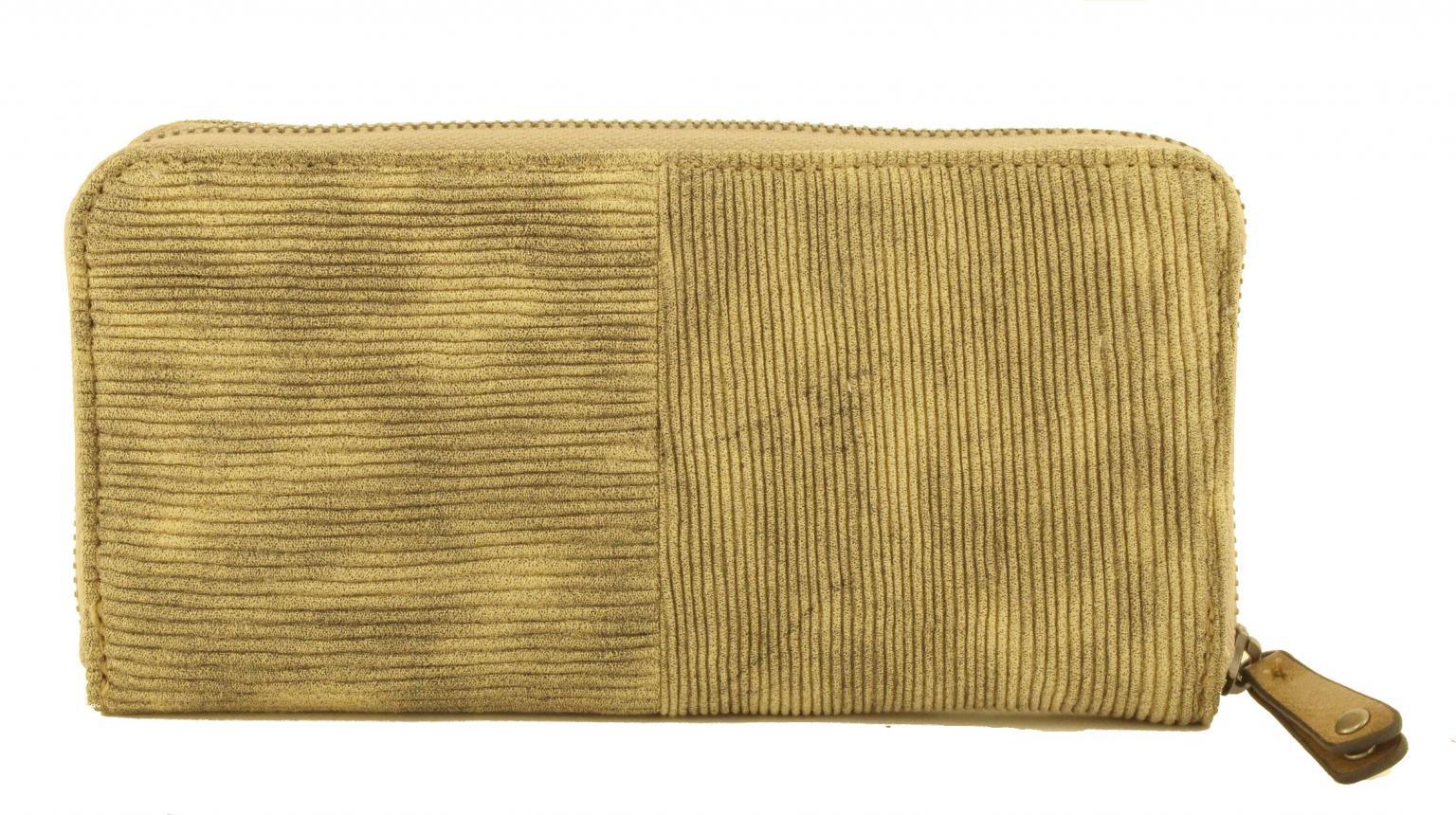 Suri Frey Geldbörse Elly geripptes Muster Reißverschluss Taupe