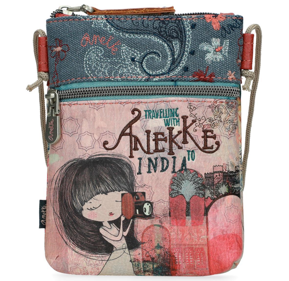 Täschchen Anekke India Comic-Print Stickerei