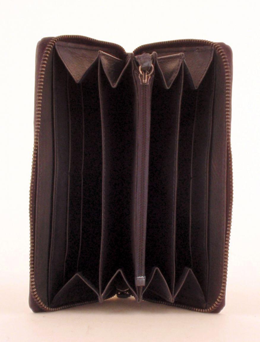 Taschendieb Portmonee Flechtleder mit Nieten Grau
