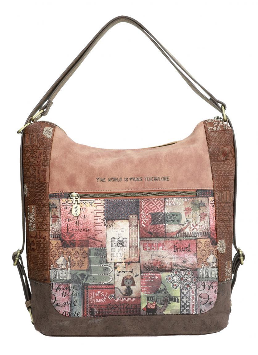 Taschenrucksack Anekke Ägypten Prägung Stickerei braun Orient