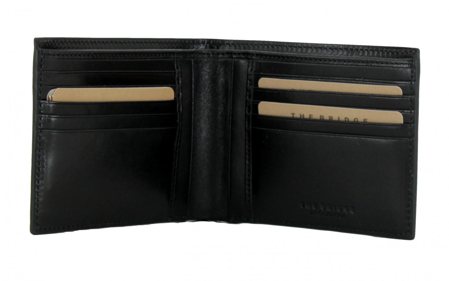 The Bridge Nero schwarz Leder Herrenbrieftasche glänzend