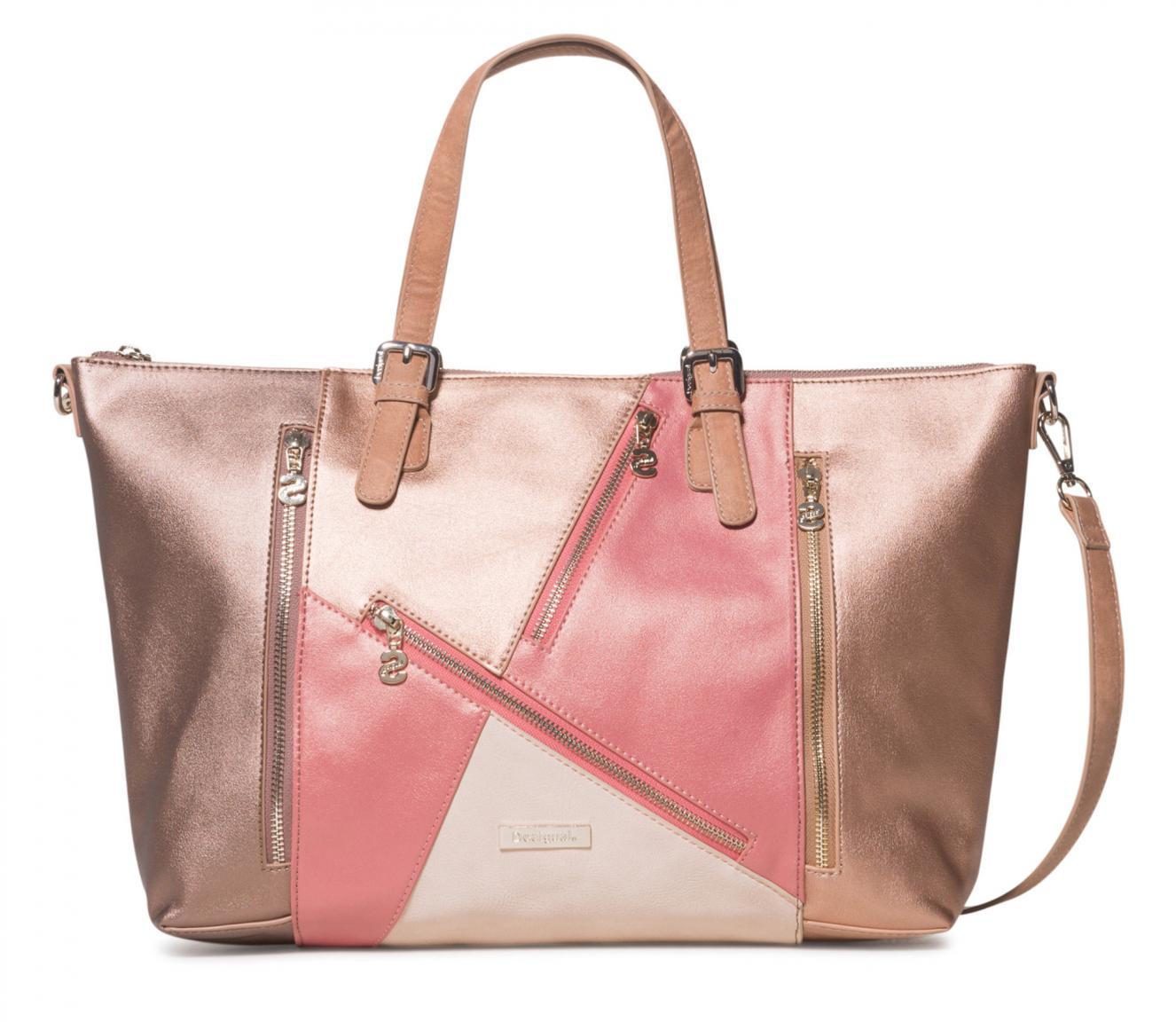 Tote Bag Desigual Helios Verona Metallic Patchwork Coral Shopper