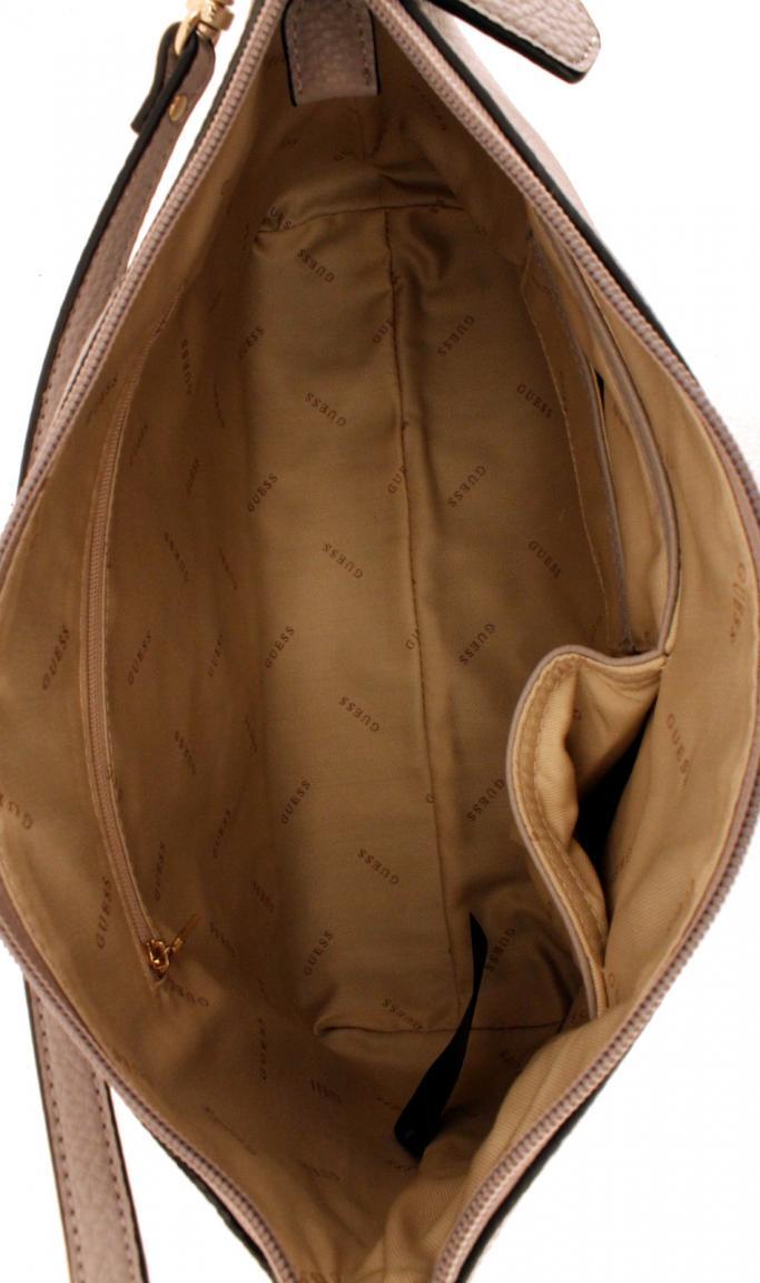 Tote Bag Guess Tabbi Taupe grau Innentasche geprägt Shopper