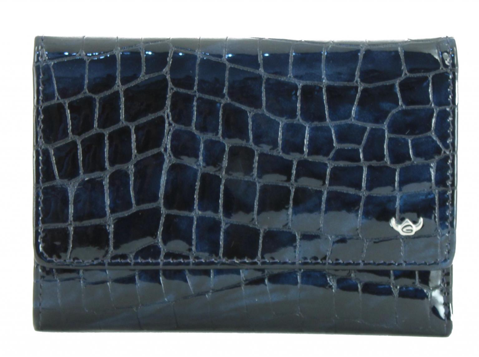 Überschlagbörse Cayenne Golden Head nachtblau Leder geprägt