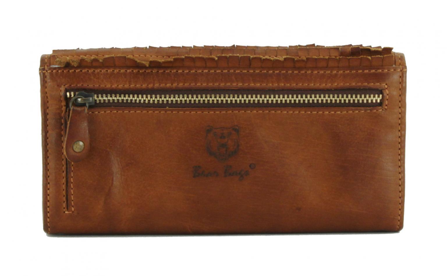 Überschlagbörse bear bags Schuppendesign Cognac braun Leder