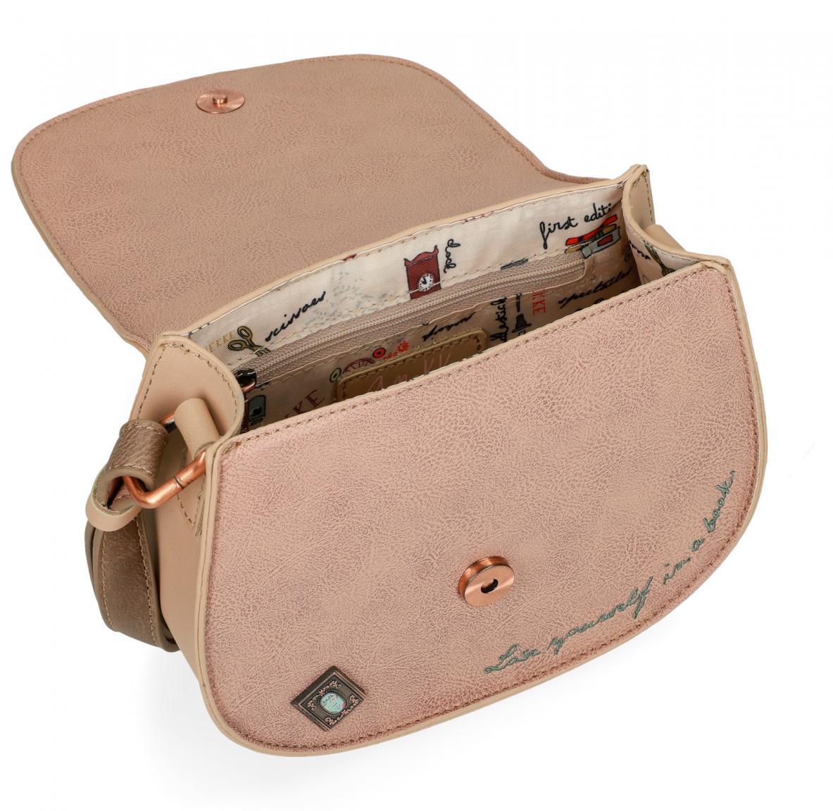 Überschlagtasche Anekke Jane Stickerei Pastell Buch beige rosa