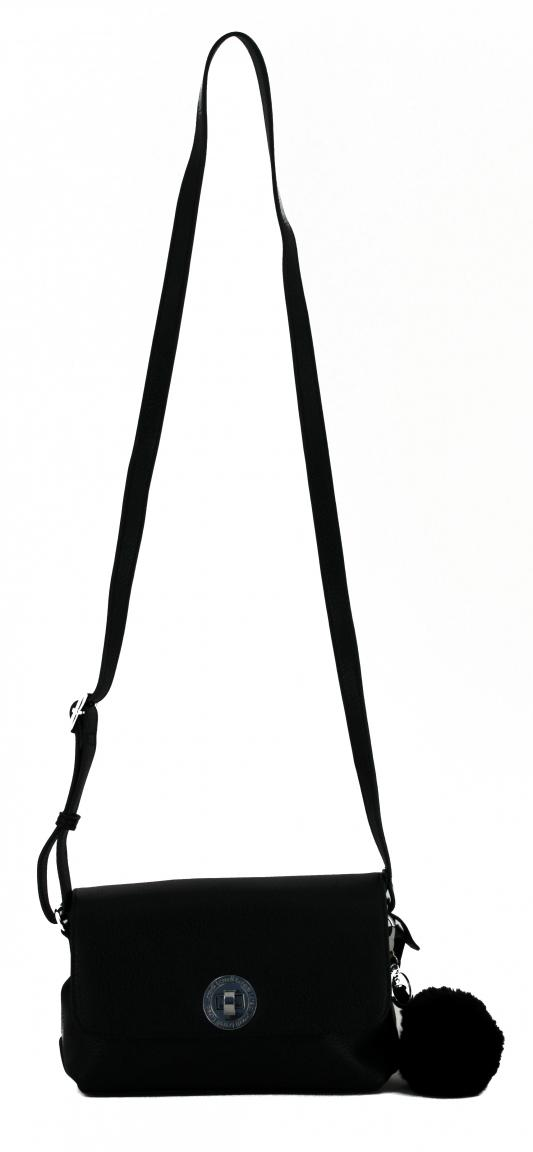 Überschlagtasche L.Credi Munich Belvedere schwarz Bommel