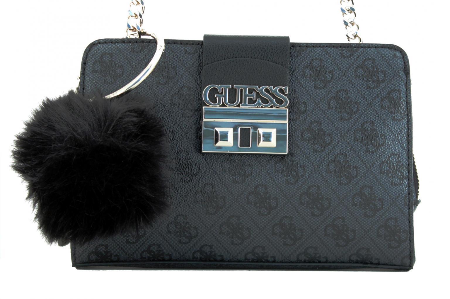 Umhängetasche Guess Logo Luxe Crossbody Fake Fur rot Kette