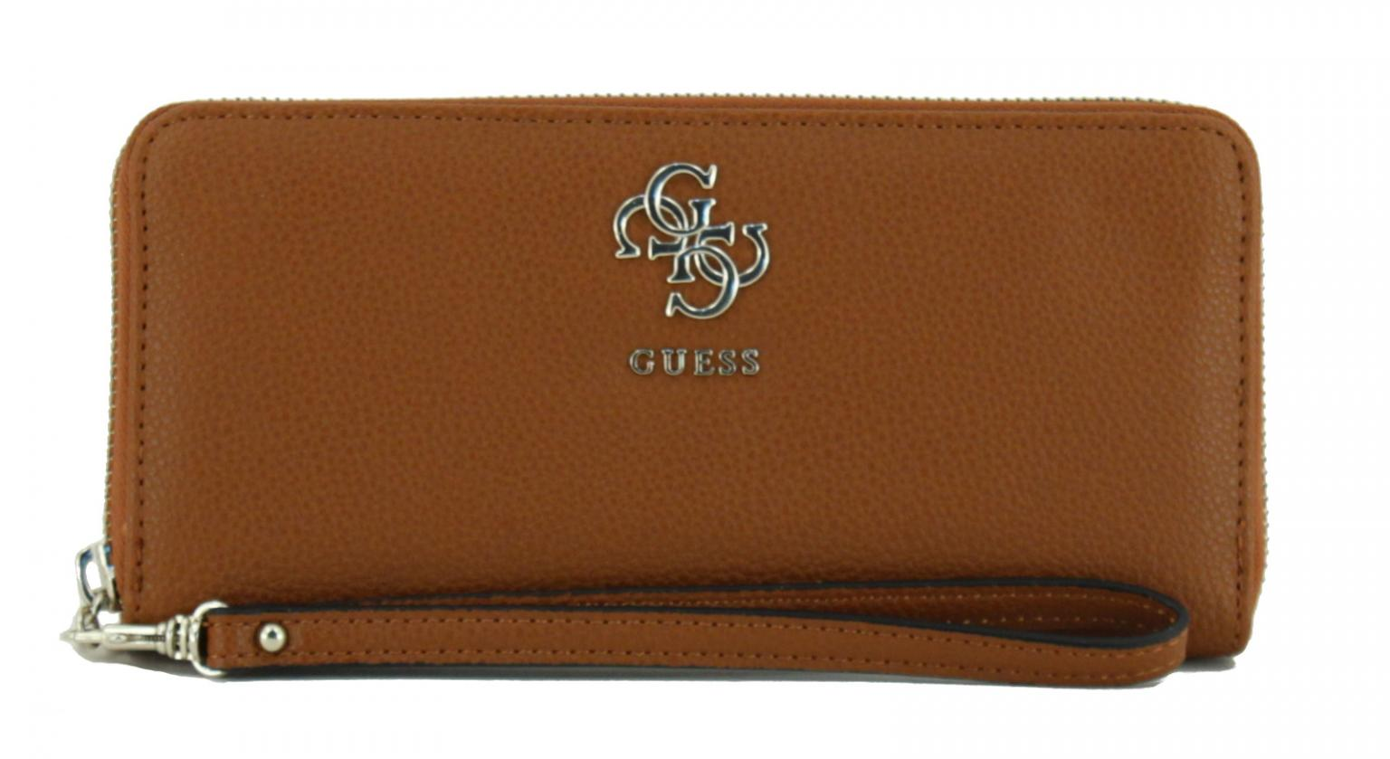 Zip-Börse Damen Guess Digital Cognac braun 4G-Logo