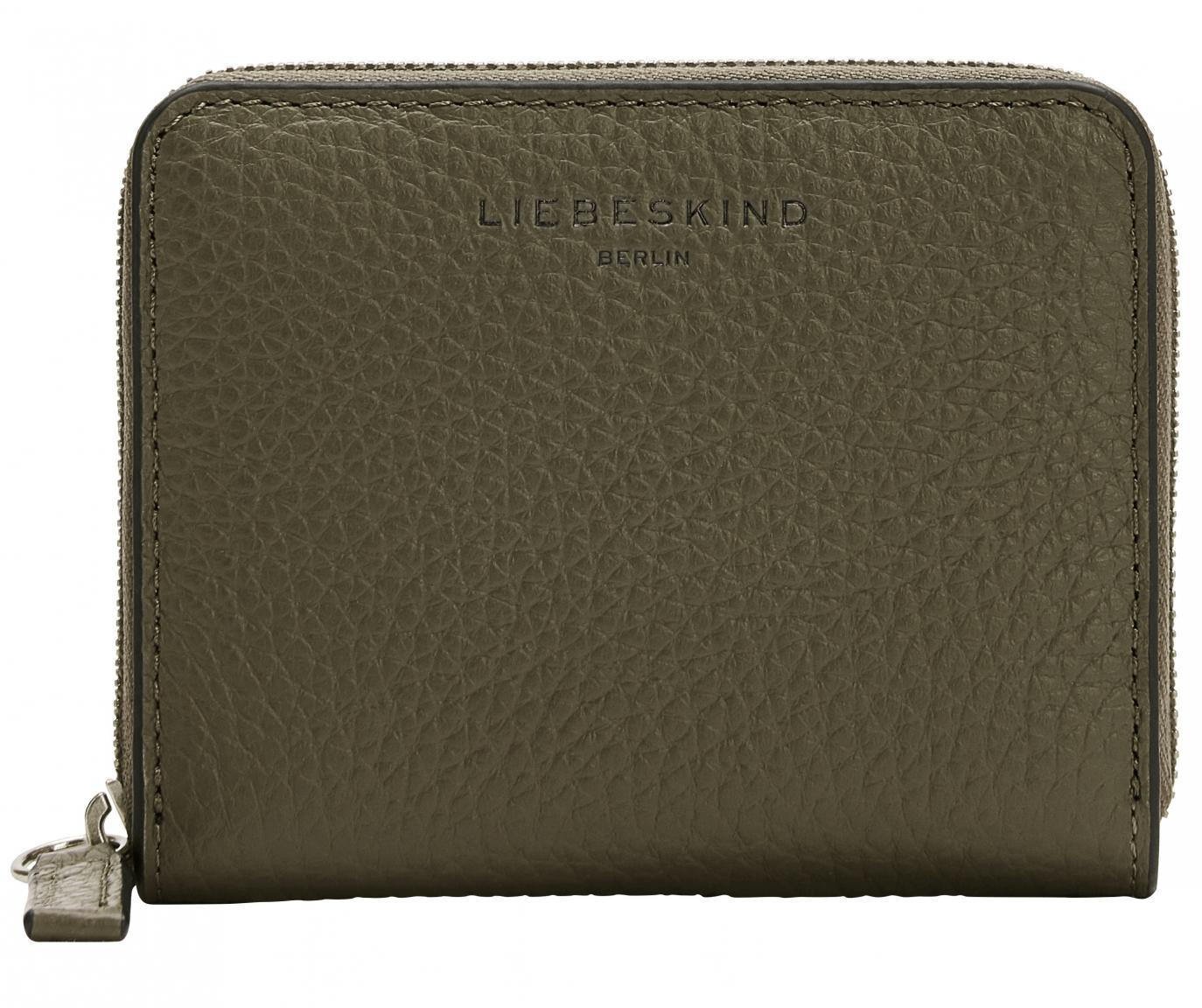 Zipbörse Liebeskind Helen Conny RFID-Schutz moosgrün Heavy Pebble genarbtes Leder