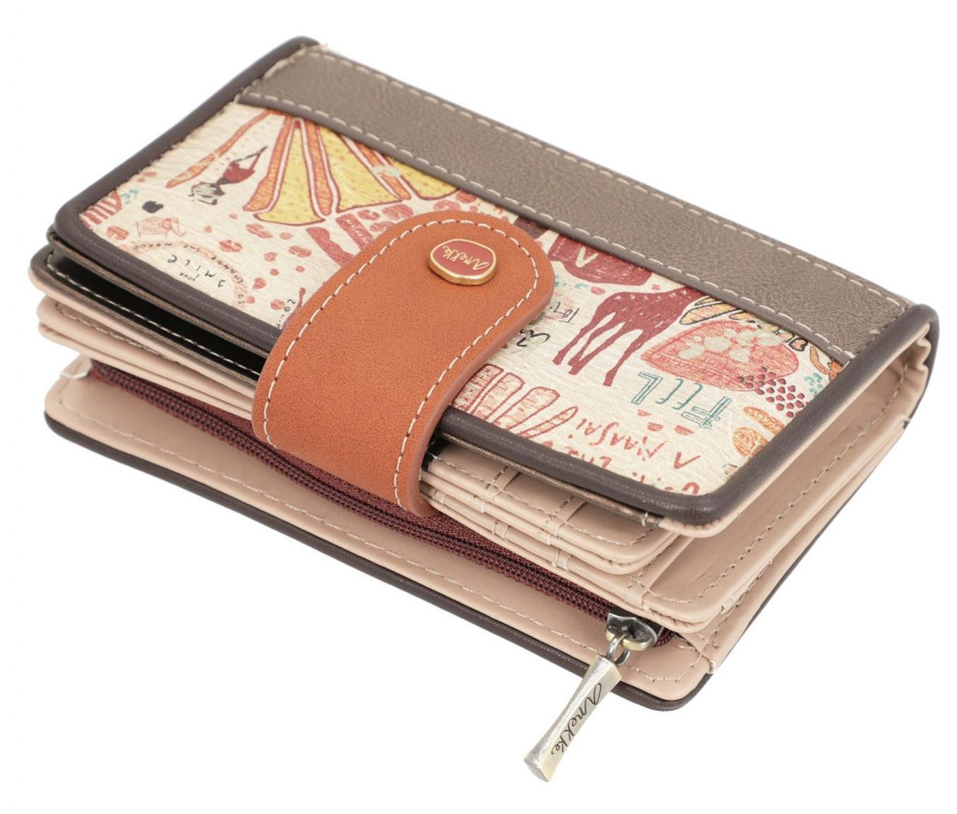 bestickte Brieftasche Anekke Kenya beige viele Kartenfächer