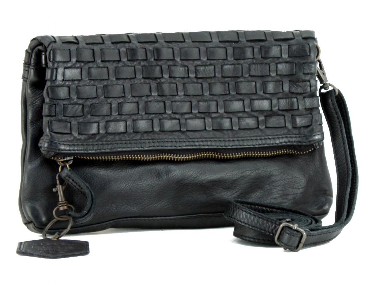 geflochtene Ledertasche Bear Bags New Woven schwarz Vintage