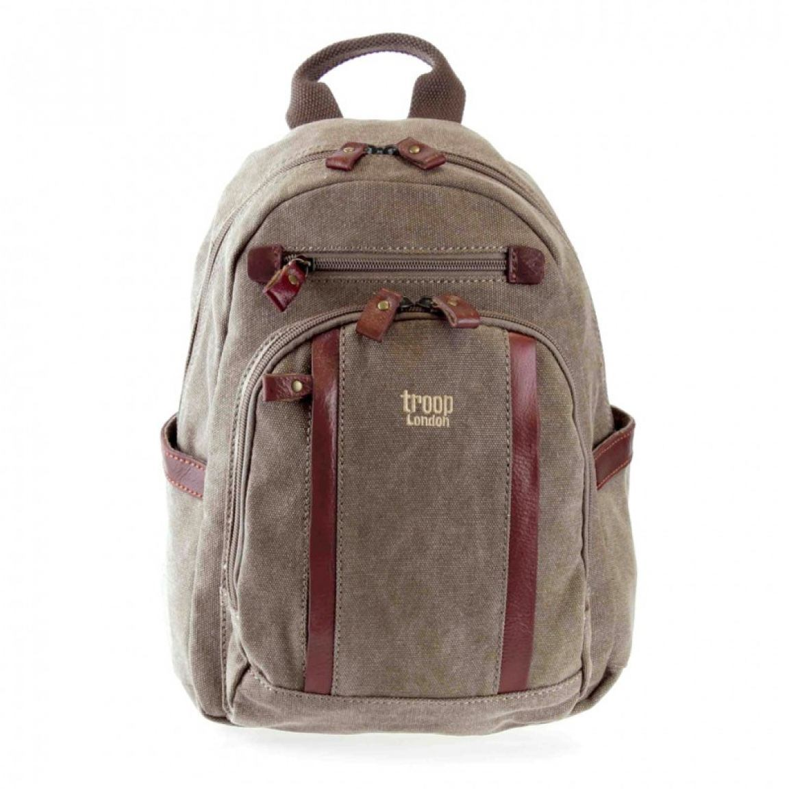 troop Cityrucksack canvas mit Leder brown