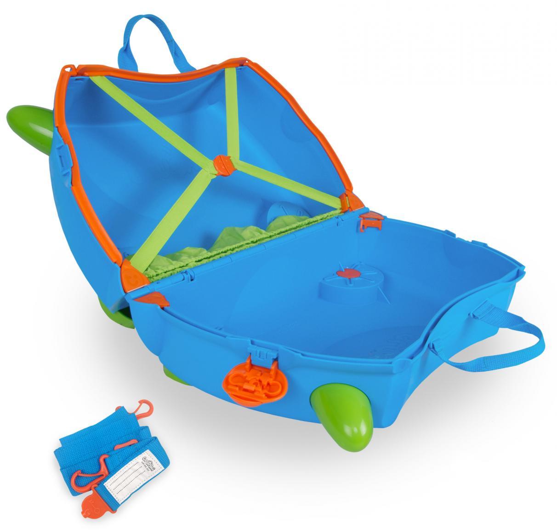 trunki Kinderkoffer Terrance verschließbar Rollen blau grün