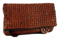 Harbour 2nd Twee Clutch Ledertasche Web Cognac