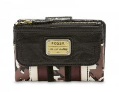Fossil Damenportmonee Emory Patchwork Multifunktion Leder brown