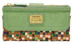 Fossil Emory Clutch Leather Damengeldtasche Sea Glass