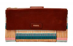 Fossil Geldbörse Ellis Clutch Leder Colorful Stripes