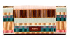 Fossil Portmonee Ellis 29 Clutch Leder Colorful Streifen