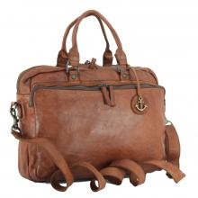 Collegetasche Harbour 2nd Jonathan Laptopfach cognac braun