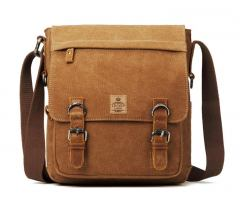 Crossovertasche troop Classic Canvas Leder Brown