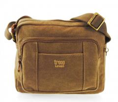 Crossovertasche troop Classic Stoff/Leinen Brown
